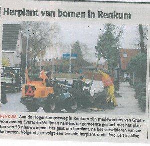 herplant bomen gemeente Renkum